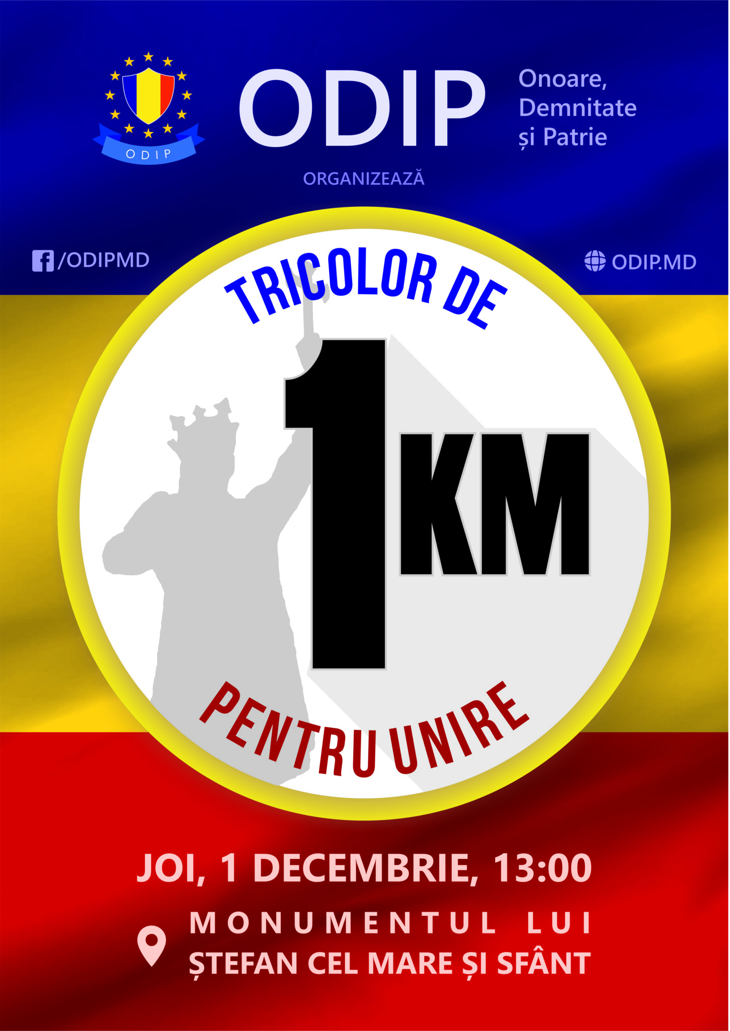 PREMIERĂ! Un tricolor de 1 km va fi întins pe bd. Ștefan cel Mare pe data de 1 decembrie