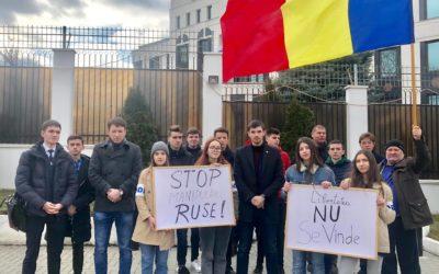 Libertatea nu se vinde! Unioniștii au protestat în fața Ambasadei Federației Ruse